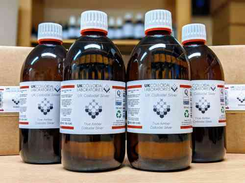 4 x 500ml Glass Amber Colloidal Silver - 4 Pack Special