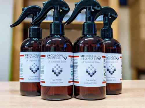 4 x 250ml Amber Colloidal Silver Sprayers - Special Offer